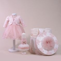 Precious Pink Lace Complete Baptism Set For Baby Girls - Annebebe Brand - Made In Romania Girls Dresses, Flower Girl Dresses, Laura Biagiotti, Pink Lace, Romania, Baby Girls, Harajuku, Wedding Dresses, How To Make