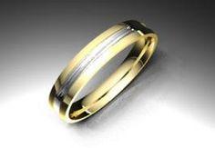 Alianza de oro blanco y amarillo de 18K modelo Rayada, #bodas #alianzas #novia | cnavarro.com