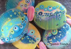 jasmin french ' graphics ' lampwork beads set von jasminfrench