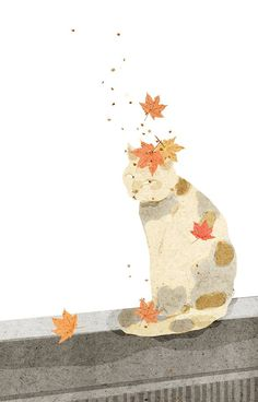 Art Prints, Watercolor Art, Art Painting, Illustrations And Posters, Graphic Illustration, Cat Illustration, Art, Autumn Art, Cute Illustration
