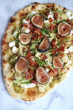 Brussels, Bacon & Fig Pizza With Naan, Olive Oil, Pesto, Bacon, Brussels Sprouts, Red Onion, Fresh Mozzarella, Figs