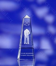 CRYSTAL GLASS OBELISK PAPERWEIGHT or AWARDS...  with 3D Laser Engraved Image & Logo in Centre. Size: 260x90x90mm. Supplied in Presentation Box. Minimum Quantity: 1