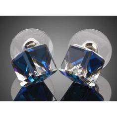 Platinum Plated Big Blue Cube Swarovski Crystal Earrings