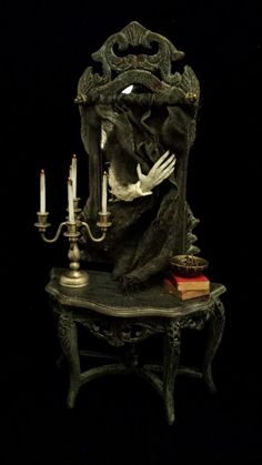 OOAK 1:12 Scale Dollhouse Miniature Spooky Haunted Mirror and Table
