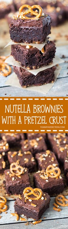 These Nutella Brownies with a Pretzel Crust are sweet and salty, chewy, crunchy - they have it all! | yummyaddiction.com