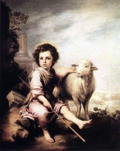 Bartolome Esteban Murillo (1617 – 1682, ): Divino Pastor abrazando a un cordero National Gallery, Londres, Reino Unido-
