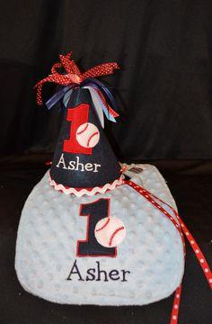 1st Birthday Hat and Bib Combo Set Baseball Theme