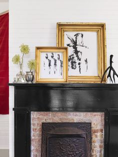 Spotted: Singer Holly Williams citing Boston Interiors bedside tables in her farmhouse makeover in Country Living! Brick Fireplace Decor, Farmhouse Fireplace Mantels, Painted Brick Fireplaces, Paint Fireplace, Brick Fireplace Makeover, Faux Fireplace, Fireplace Design, Black Fireplace Mantels, Beach Fireplace
