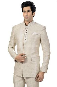 Buy Designer Traditional Jodhpuri Suit online for Men in India. Shop for latest collection stylish Bandhgala wedding suits for groom. Mens Attire, Groom Attire, Mens Suits, Mens Indian Wear, Indian Groom Wear, Prince Suit, Restaurant Uniforms, Barong, African Shirts