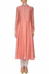 Peach Pleated Long Kurta shopnow #newcollection #contemporary #slohdesigns #happyshopping #kurta #clothing