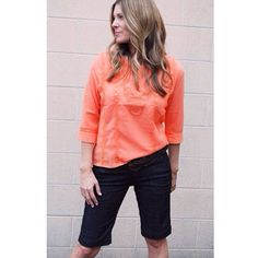 Tangerine peasant top with embroidery detail paired with dressed up denim Bermudas in the store now. Stop in or call to order 801.763.2700. #ourlittlestoreboutique #utahboutiques #utahfashions #ootd #wiw #fashionable #feelgood #ordernow #weship 801.763.2700 #leaveemail&we'llpaypalinvoiceyou #outfit #details #accesorize @ourlittlestoreboutique #utahfashion