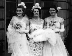 Rosemary Kennedy, right, with her mother Rose Kennedy, center, and her sister, Kathleen, leaving their London house to be presented at court.