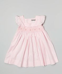 Another great find on #zulily! Pink Rose Smocked Angel-Sleeve Dress - Infant & Toddler #zulilyfinds