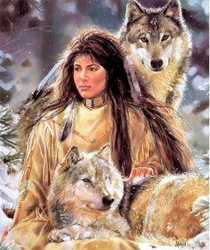 """Американская художница Maija уже более 30 лет воспевает в своих работах красоту индейцев, особое внимание уделяя гармонии коренных обитателей Северной Америки с природой. Чаще всего на её работах можно видеть прекрасных индианок рядом с животными. В данном посте представлена """"волчья""""…"""