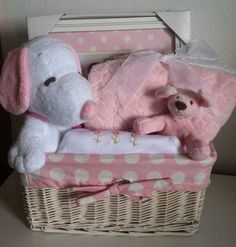 Pink Snoopy Baby Gift Basket by FiveBrownMonkies on Etsy, Baby Snoopy, Snoopy Love, Snoopy Nursery, Diy Gift Baskets, Baby Baskets, Baby On The Way, Baby Love, Baby Baby, Lined Wicker Baskets