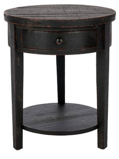 Jean Round End Table, Distressed Black