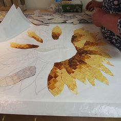 Bargello Sunflower Class At Quilty Pleasures - An Inspirational Sunday Post