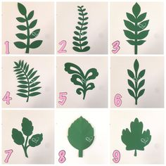 The price listed is for ONE dozen of paper flower leaves/vines cut outs. Choose from the above styles and colors available. Vines measure between H up to W depending on style. For gold and silver leaves you can use any spray paint to paint the.This Paper Large Paper Flowers, Paper Flower Wall, Flower Wall Decor, Felt Flowers, Diy Flowers, Flower Decorations, Arch Flowers, Flower Backdrop, Leaf Template