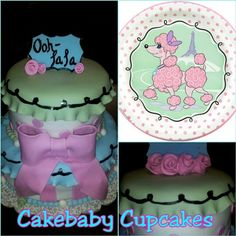 Custom Pink Poodle In Paris Themed 2 Tiered Flavor Birthday Cake