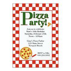 Pizza Birthday Party Invitations Pizza Party Birthday Invitation
