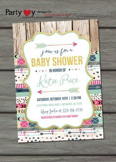 tribal baby shower invitation aztec baby shower invitation rustic baby shower invitation tee