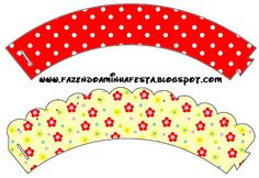 Red Polka Dot & Floral Cupcake Wrappers