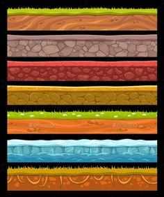 Illustration of Seamless landscape elements set, vector ground collection vector art, clipart and stock vectors. Landscape Elements, Landscape Concept, Landscape Art, Game Character Design, Game Design, Prop Design, Vector Game, 2d Game Art, Game Textures