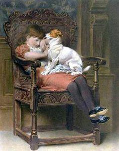 Briton Riviere (1840 – 1920, English) -- stolen-kisses