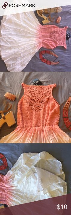 Crochet top Summer dress Pink/peach flows from the crochet top into the full bottom skirt. Size medium but runs small. Lightweight for summer. Pretty detail for a wedding, shower, or brunch with the girls. Private boutique  Dresses