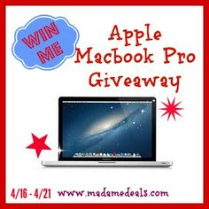 Apple Macbook Pro Giveaway 4/16-4/21 http://madamedeals.com/?p=489409 #inspireothers