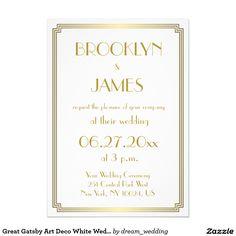 Great Gatsby Art Deco White Wedding Invitations