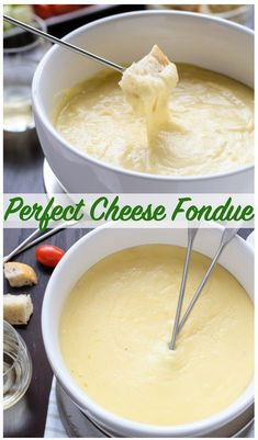 A classic cheese fondue recipe what to use for fondue dippers and how to make the perfect cheese fondue every time. Includes Swiss cheese fondue with gruyere beer cheese fondue with cheddar and a non-alcoholic fondue option. Dips Für Fondue, Cheese Fondue Dippers, Swiss Cheese Fondue, Fondue Party, Easy Cheese Fondue Recipe, Fondue Ideas, Cheddar Cheese Fondue Recipe Without Alcohol, The Best Cheese Fondue Recipe, Cheese Recipes