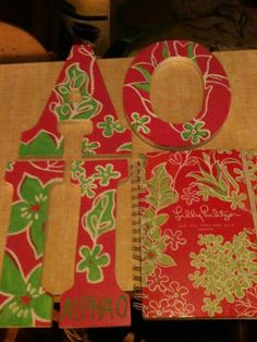 Lilly print letters and matching planner. What a lucky little!
