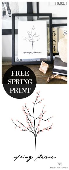 Grab this free spring printable for your home or office! Cute and simple spring print is a great way to refresh decor for the new season. Head to the blog for instant download.