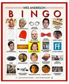 Wes Anderson Bingo | Biblioklept
