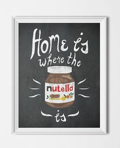 Nutella Chalkboard Kitchen Printable Instant Download Art Poster by TheGlassMountain on Etsy