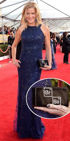 Anna Gunn in Monique Lhullier gown and custom Edie Parker Breaking Bad-themed clutch, SAG Awards Jan. 18, 2014