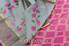 Striking pink floral creepers on sober grey Chanderi cotton silk - a saree that can be both grim and flighty! A brown border with zari strips bears the odd pink flower here and there. Pink pallu with crisscross zari checks - geometric invasion calls for sighs of joy!     Shop for our Chanderi Saree at : http://knkta.co/chanderi  #Chanderisaree #Chandericottonsilk #Partywear #Kankatala