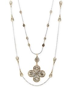 Lucky Brand Two-Tone Double Layer Long Strand Necklace