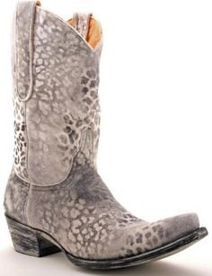 Womens Old Gringo Leopardito Boots Grey And Black #L168-11