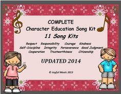 ***UPDATED 2014*** $15.00 for all 11 Song Kits ** ***KID FRIENDLY MP3 Vocal Tracks have been added***This K-5th Complete Character Education Song Kit BUNDLE includes 11 Song Kits:RespectResponsibilityCourageKindnessSelf-DisciplineIntegrityPerseveranceGood JudgmentCooperationTrustworthinessCitizenshipAge Appropriate for:  Elementary HomeschoolEach individual Song Kit contains the following: Words & Music: Melody line with Chords Songsheet with Lyrics only Easy Movement Suggestions for the...