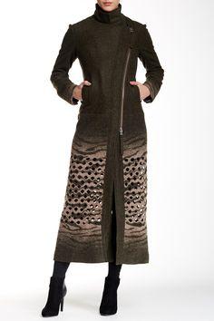 Lazer Cut Boil Wool Blend Maxi Coat by L.A.M.B. on @HauteLook