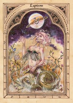 Capricorn - the Goat (-fish) 'Duality expressed between the water-loving fish and the mountain goat which spurns the water and longs to climb upwards to the clouds.' [Aries] [Thaurus] [Gemini...