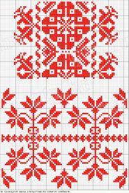 A felső párnavég invarrásos és keresztszemes. Úgy a Szilágyságban, mint Erdélyben gyakori minta. Sámson (83.618).<br />Az alsó párnavég öltésmódja mint az előbbié. Mintája székely hímzésekre emlékeztet. Bogánd (83.614). Hungarian Embroidery, Embroidery Sampler, Embroidery Stitches, Embroidery Patterns, Cross Stitch Patterns, Red Pattern, Pattern Art, Blackwork, Monochrome Pattern