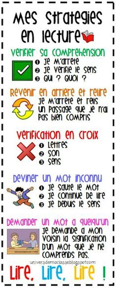 Teach Your Child To Read - La lecture (affiches pour les stratégies de lecture: universdemaclasse. ) - TEACH YOUR CHILD TO READ and Enable Your Child to Become a Fast and Fluent Reader! Comprehension Strategies, Reading Strategies, Reading Comprehension, Read In French, Learn French, French Stuff, French Teaching Resources, Teaching French, Core French