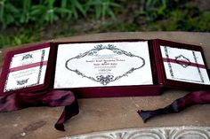 Absolutely love this idea of sending invitations in satin wrapped boxes with ribbons tied around them. It just looks extremely formal and luxurious. Pretty sure it's not in the budget but we both love this look.