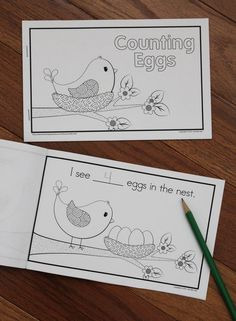 Spring bird counting emergent reader:  Count the eggs in the bird's nest.  This cute emergent reader is a FREEBIE!
