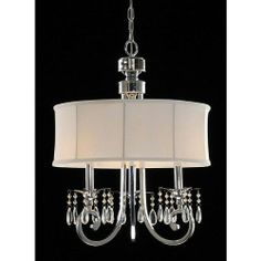 3-light White Drum Shade Hanging Crystal Chandelier Pendant