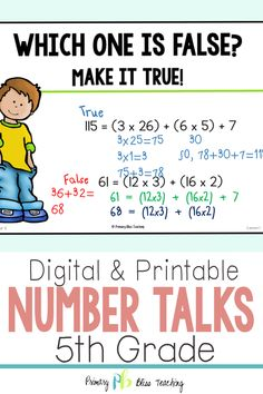 Your fifth grade students will absolutely LOVE these fifth grade common core aligned number talk activities. These math talks are super engaging and will have your students talking about math like never before. Grab your set today! Math Fact Practice, Math Talk, First Grade Math, Fifth Grade, Math Lesson Plans, Math Lessons, Daily 5 Math, Daily Number, Number Talks