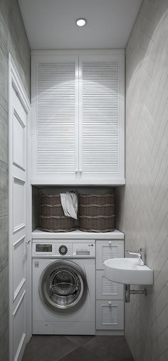 Stacked Washer Dryer, Washer And Dryer, Bathroom Design Small, Washing Machine, Sweet Home, Home Appliances, Interior Design, Homes, Storage